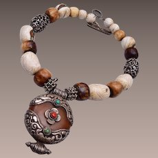 Tibetan Sterling Bone, Amber, Coral and Turquoise Necklace