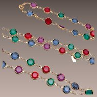 Swarovski Colorful Bezel Set Crystal Necklace and Bracelet