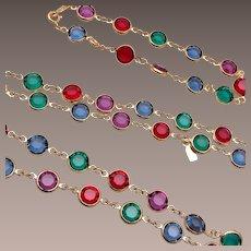Swarovski Colorful Bezel Set Crystal Necklace and Bracelet