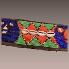 Vintage African Tribal Ceremonial Ethnic Beaded Belt with Cowrie Shells