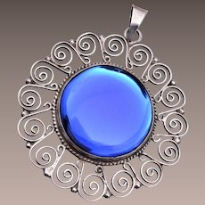 Mexico Sterling Blue Glass Pendant