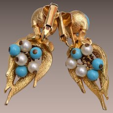 Boucher 4604 Turquoise and Pearl Earrings