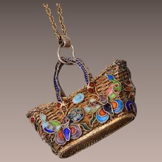 Chinese Filigree and Enamel Purse on Gold Filled Chain