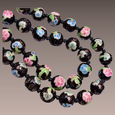 Black, Pink, Blue and Green Cloisonne' Necklace