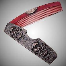 Denmark Silver Comb With Scene