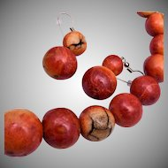 Red Apple Coral Beads Graduated Necklace
