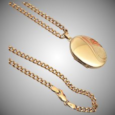 8kt Gold 2 Sided Locket with Chain