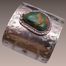 Navajo Nickel Silver Genuine Turquoise Cuff Bracelet