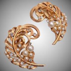 Elsa Schiaparelli Feather, Pearls and Rhinestone Earrings