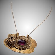 Sash Pin or Pendant - Purple Stone Brooch