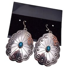 Stamped Sterling Pierced Navajo Turquoise Earrings