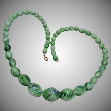 Green Slag Glass Necklace