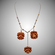 3 Bakelite Carved Roses Necklace