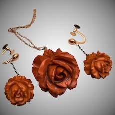 Bakelite Roses With Gold Filled Findings