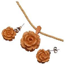 Bakelite Carved Roses With Pierced Earrings