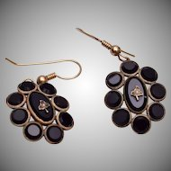 Gold Filled Black Victorian Earrings