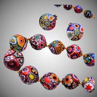 """Millefiori Glass 28"""" Long Necklace and Earring Set"""