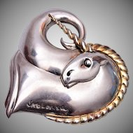 Circle of Fine Art Sterling Unicorn Brooch