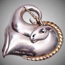 Circle of Fine Art Sterling Unicorn Brooch