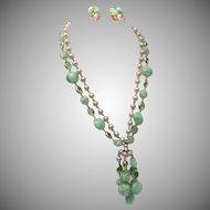 Kramer 2 Strand Green Dangling Set with Bezel Set Crystals