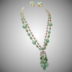 Kramer 2 Strand Green Dangling Set with Bezel Set Crystals