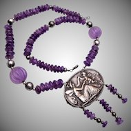 Silver Plate and Amethyst Art Nouveau Necklace