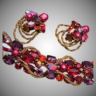 Gorgeous Red Rhinestone Kramer Bracelet and Earring Set