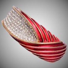 Trifari Gorgeous Red Enamel and Rhinestone Clamper Bracelet