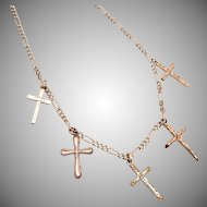 Gold Filled 5 Cross Necklace