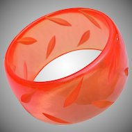 Carved Wide Bakelite Translucent Bracelet