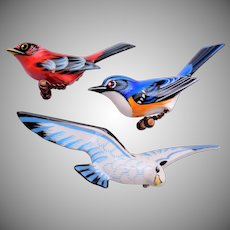 3 piece set of Wooden Painted Bird Brooches