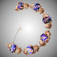 Reja Art Glass Link Bracelet