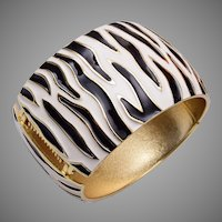 Kenneth J. Lane Zebra Print Wide Bangle Bracelet