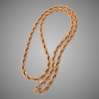 "24"" Gold Filled Twisted Rope Chain Necklace"