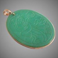 Vintage 14K Gold Engraved Green Jade Pendant