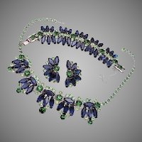 3 Piece Juliana D&E Blue and Green Rhinestone Set