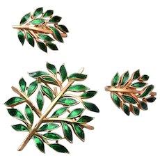 Trifari Green Enamel Tree of Life Brooch and Earring Set