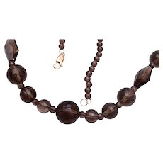 Smokey Quartz Beaded Necklace with 14kt gold Clasp