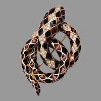 Ciner Enamel Rhinestone Coiled Snake Brooch