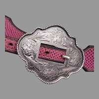 Ladies Western Belt Size 31 With Vogt Sterling Silver Buckle and End Tip