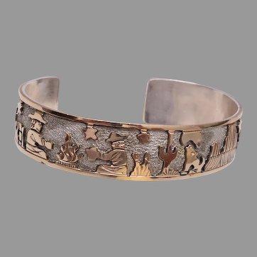 Floyd Becenti Navajo (Dine) Sterling Silver Gold Filled Storyteller Bracelet