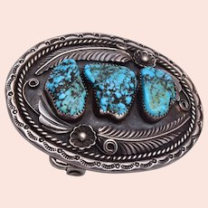 Navajo (Dine) Native American Sterling Silver Turquoise Nugget Belt Buckle