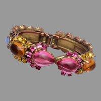 Rodrigo Otazu Faux Opal and Pink Jelly Rhinestone Hinged Clamper Bracelet