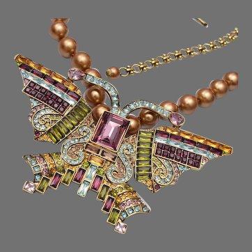 "Heidi Daus ""Eva Dia"" Golden Beaded Butterfly Necklace"