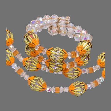 Vendome Crystal and Enamel Flower Set - Orange and Yellow