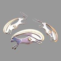 1999 Artist signed Rabbit Brooch and Pierced Earrings