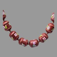 Cloisonne Barrel Beaded Necklace Tied In Between