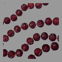 96 Rare Antique Chinese Rose Carved Cherry Amber Bakelite Court Beads