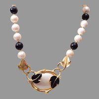 Trifari Kunio Matsumoto Black Enamel Leaf and Pearl Necklace