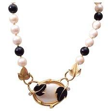 Trifari Kunio Matsumoto Black Enamel Leaf and Pearl Necklace